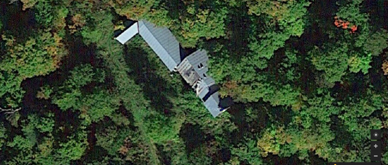 Aerial view of the old sugar camp structures