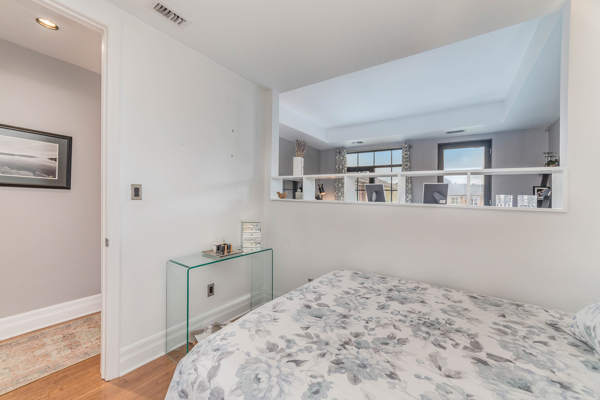 Good sized bedroom.  Bright and airy with ample closet space.  Opens up into the living area.