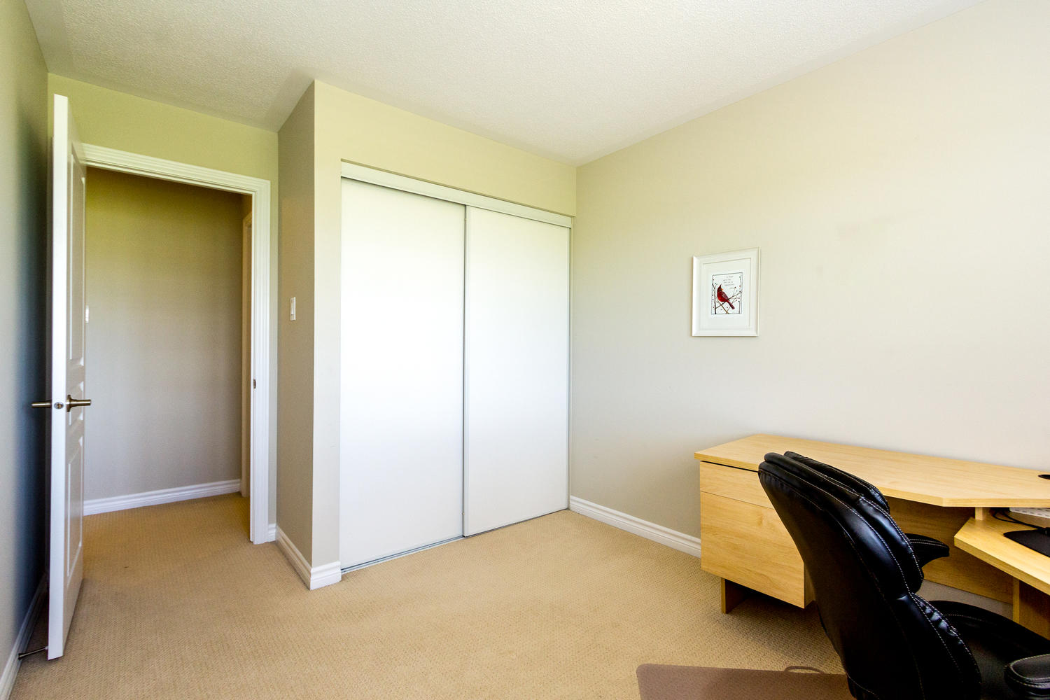 The smallest of the three bedrooms on the second level.  Great for guest bedroom, nursery, office etc.