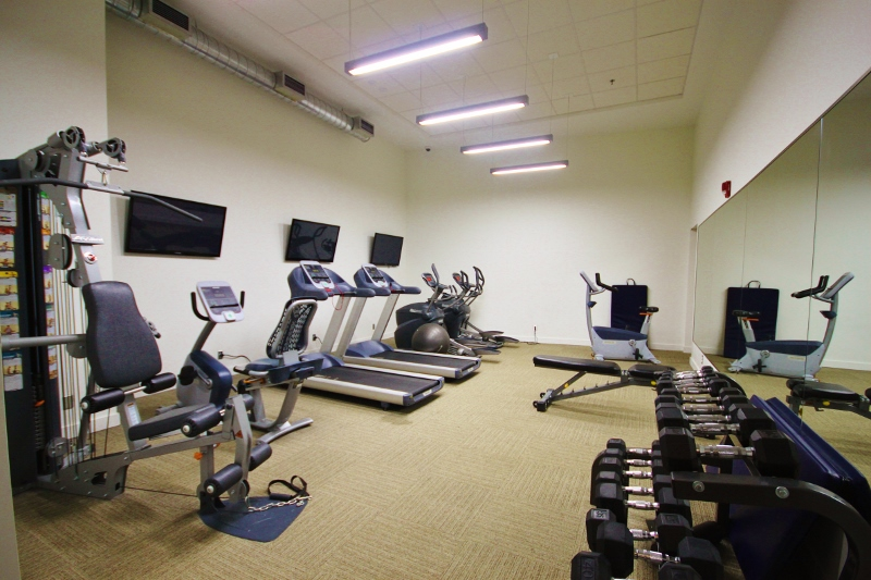 Large room, 3 big screen TV's and just about every piece of equipment you need to keep in shape.