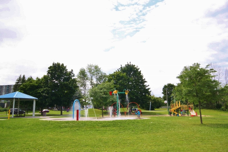 Great Park located a quick 2 min walk from your front door.  Has an amazing water pad, jungle gym, swings, bball court and more.