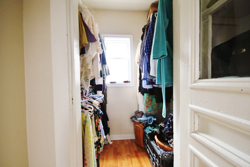 Walk-in closet in unit 109.  Nearly identical walk-in at the end of the hall in 107