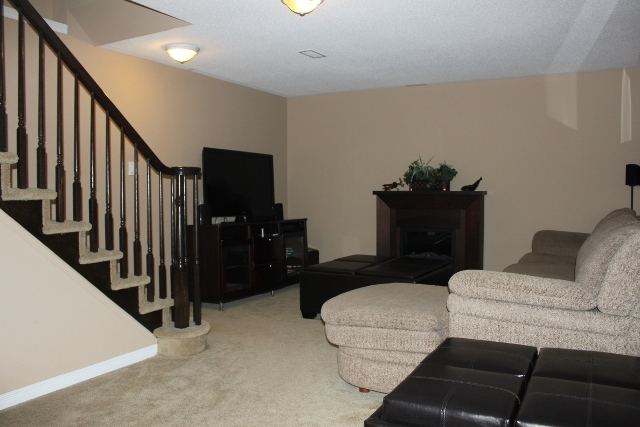 Spacious Family room in the lower level, great space for the home theatre and movie night!