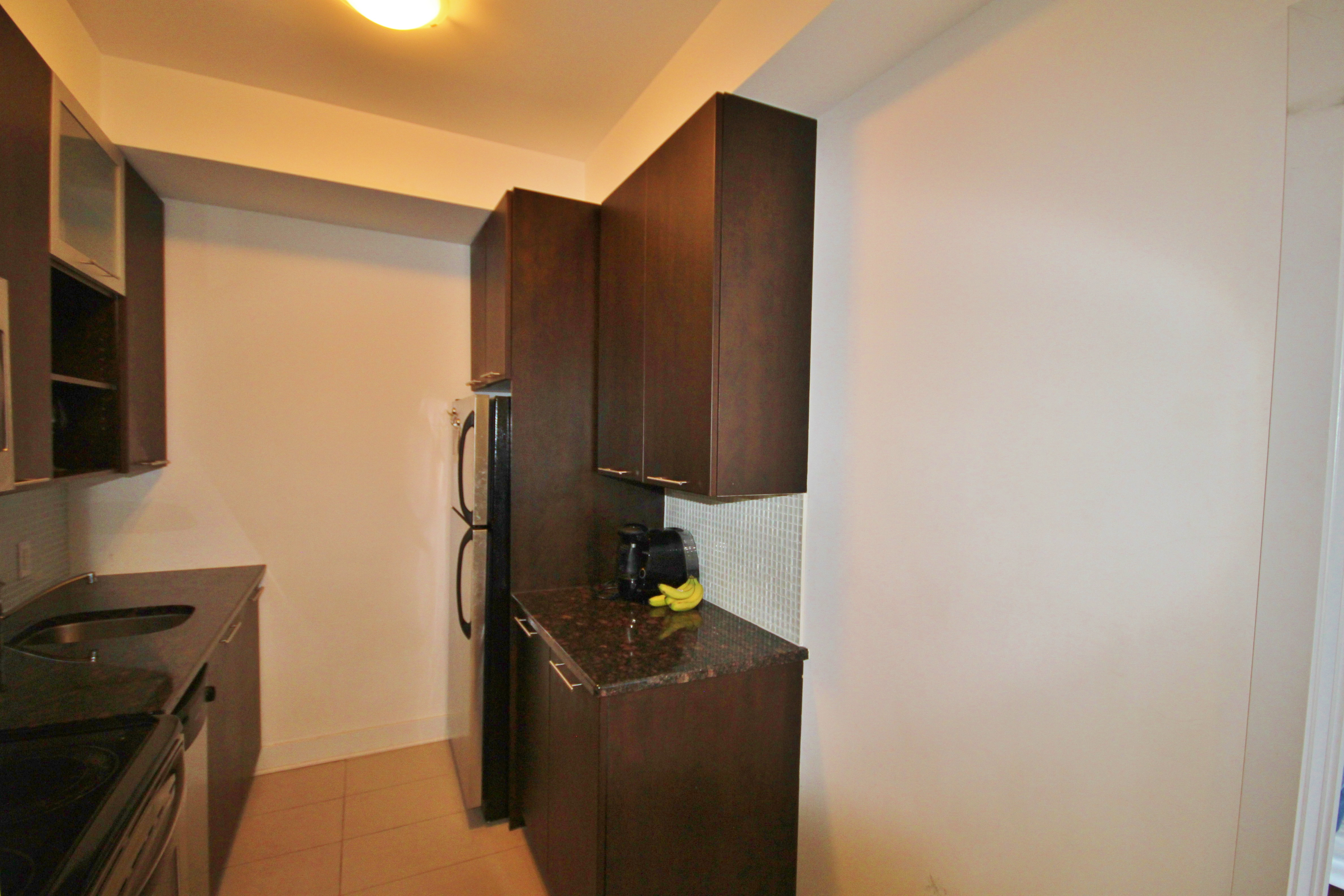 Spacious kitchen area, with room for a small table even.  Granite countertops, loads of cabinet space.
