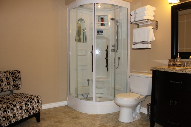 Very Spacious lower level bath with luxury shower, and room to add a bathtub.