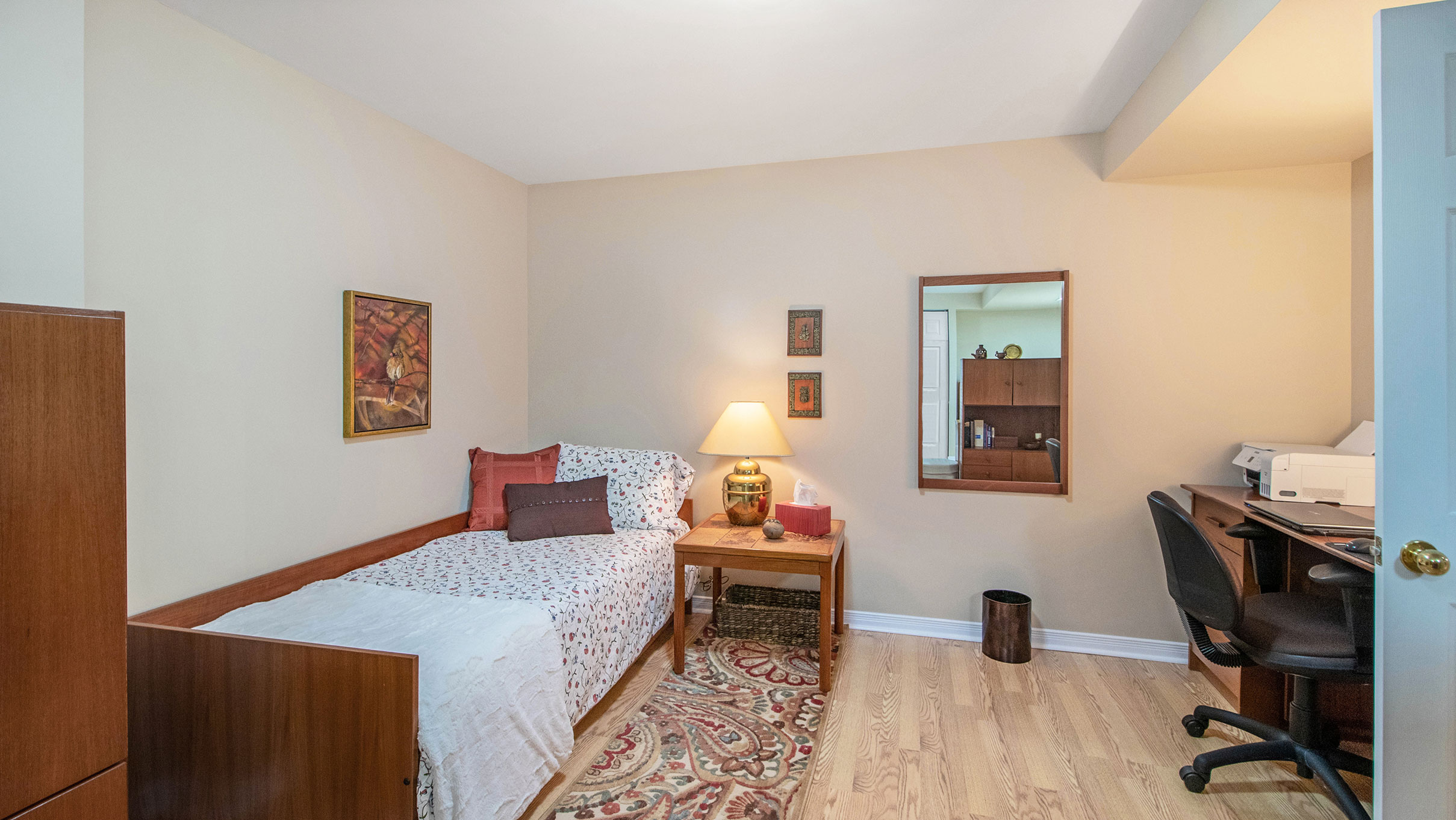 Located in the lower level, this space is typically not fully finished like this but makes for a great guest bedroom, exercise room, craft room etc