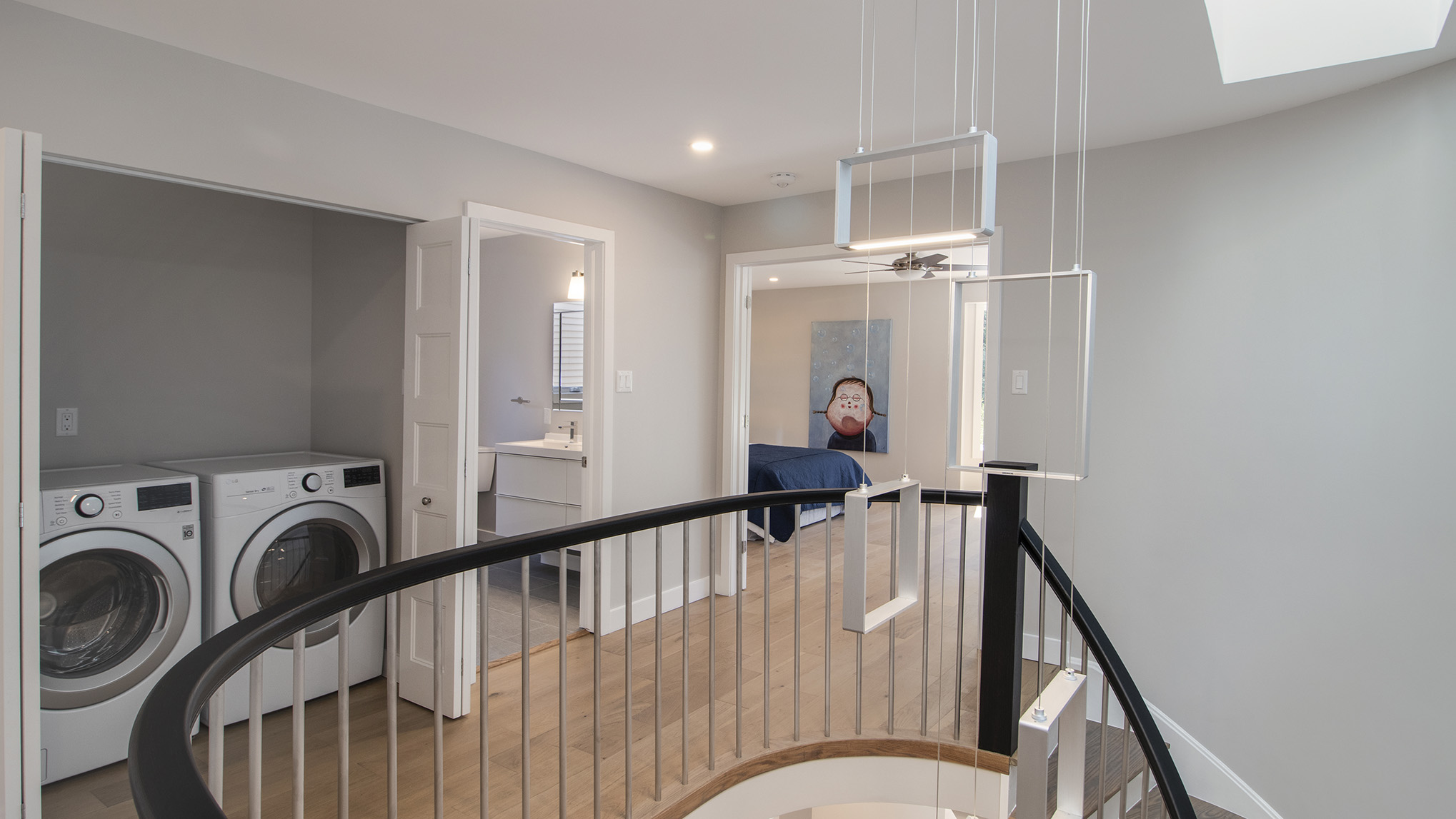 Custom Handrail and Spindles, Gorgeous Modern Light Fixture